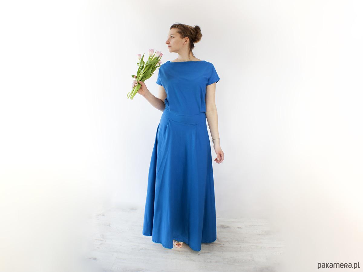 Sukienka UMUT dzianinowa długa kobaltowa