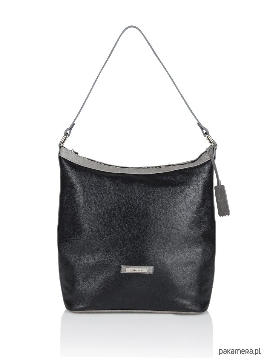 034d5c1ed46dd torby na ramię - damskie-Skórzana czarna torebka długie ucho Evelyne