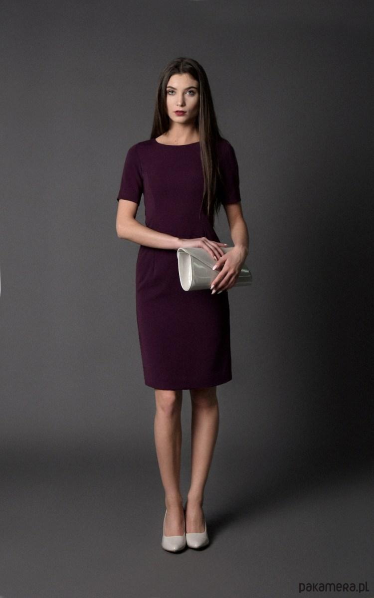 sukienka klasyczna, oberżynowa - S - ostatnia
