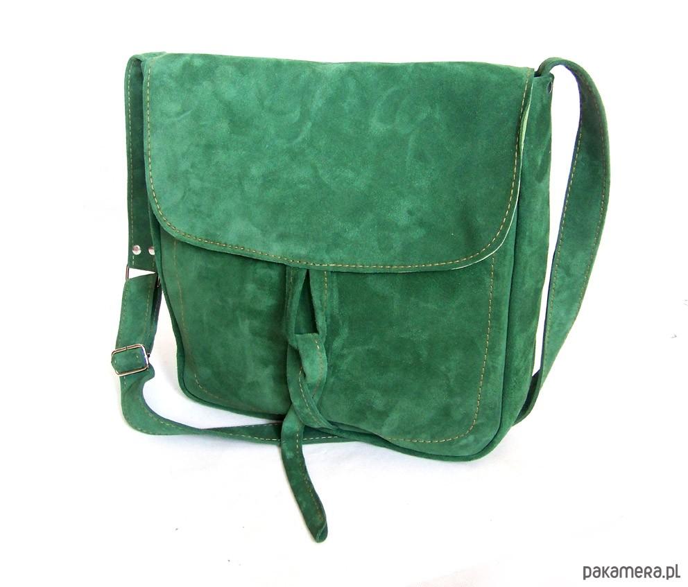 61c27442766fd Teczka z troczkiem ZIELONY ZAMSZ A4 - torby na ramię - damskie ...
