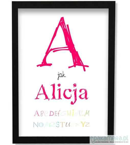 Poster Plakat Imię Dziecka Z Alfabetem Pakamerapl