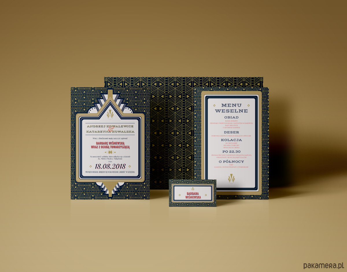 Komplet Zaproszenie ślubne Motyw Art Deco ślub Zaproszenia