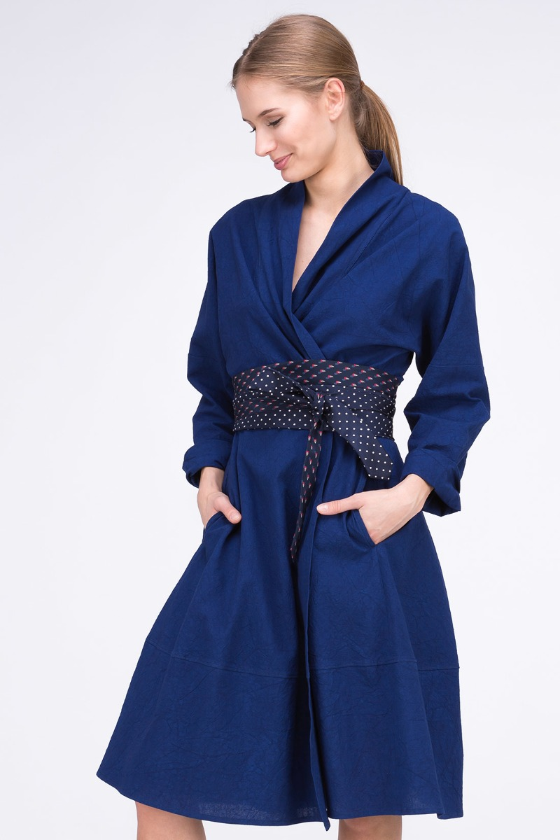 Sukienka- Płaszcz POLARIS Kobalt