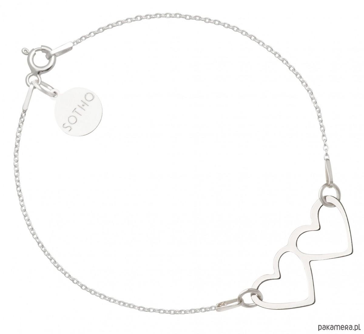 Chwalebne Srebrna bransoletka z dwoma serduszkami srebro - bransoletki OW01