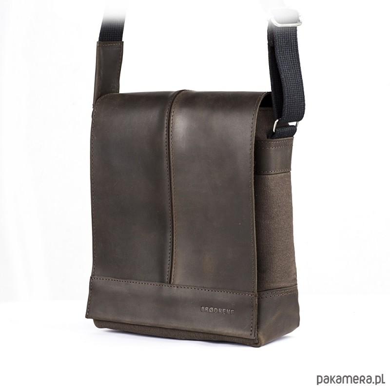 243ac002ee8ec akcesoria - torby i nerki - męskie-Ciemno brązowa saszetka męska na ramię