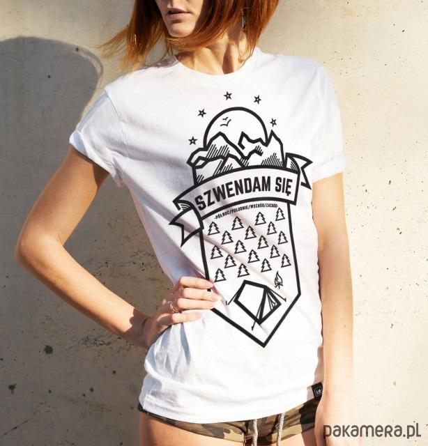 Koszulka damska - Szwendam się NAMIOT biała