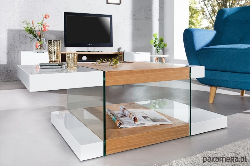 Zaawansowane Stolik kawowy Figarro dąb szkło 110cm (Z36199) - meble - stoły i JS92