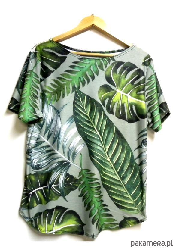 Bluzka damska,t-shirt ze wzorem liście S-XL