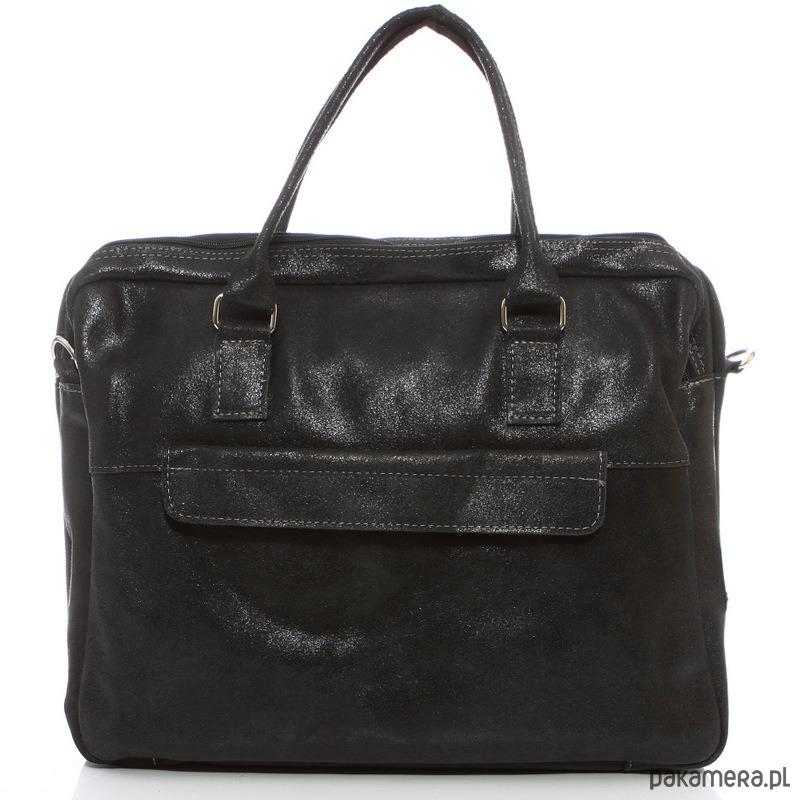 5b5a53ff6c726 torby na ramię - damskie-Czarna torebka damska skórzana do pracy Belveder