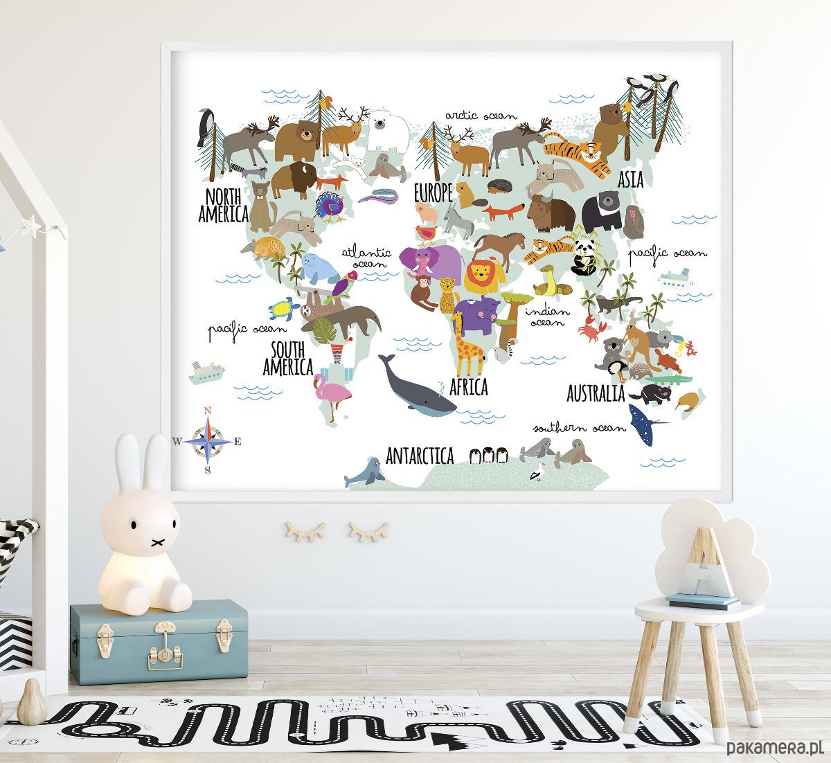 Mapa Dla Dzieci Ze Zwierzętami Z Całego świata Pakamerapl