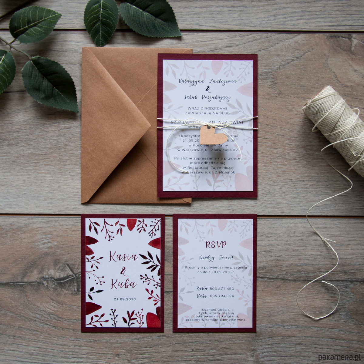Akwarelowe Zaproszenia ślubne Bordo ślub Zaproszenia Kartki