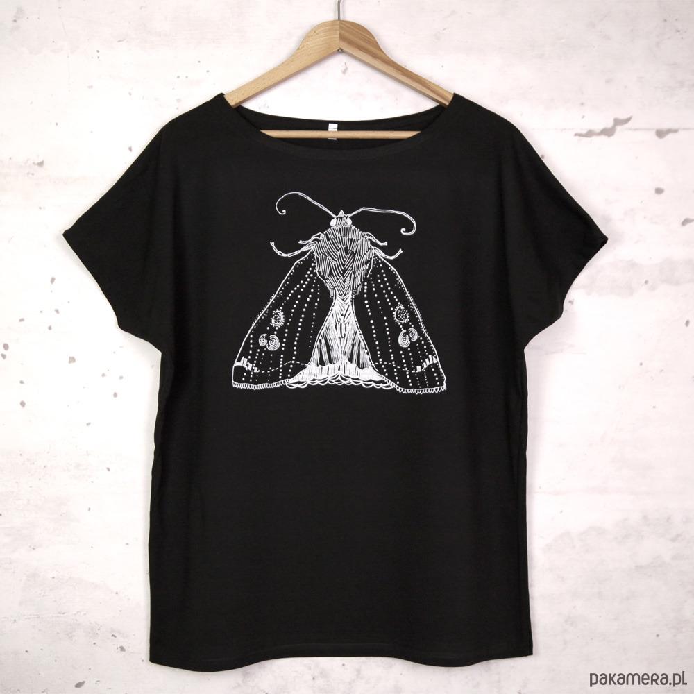 ĆMA koszulka bawełniana czarna z nadrukiem