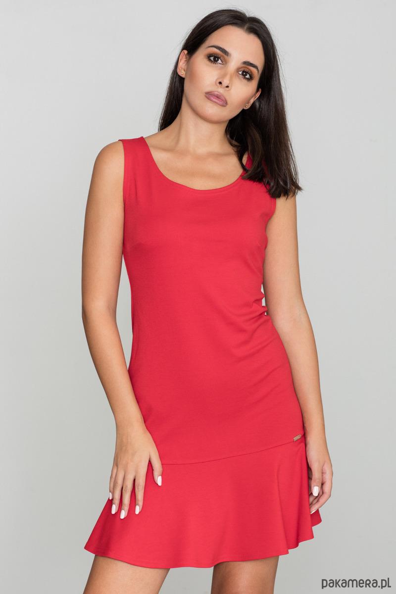 Sukienka z rozkloszowanym dołem m574 czerwony