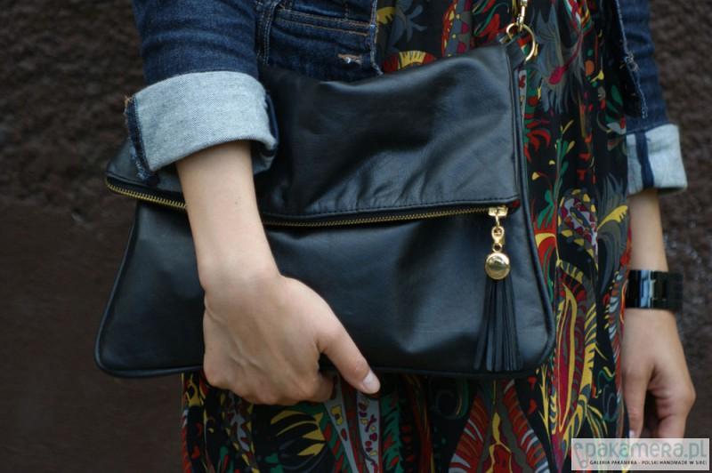 128621bd4f403 torby na ramię - damskie-Duża czarna torba-kopertówka ze skóry naturalnej