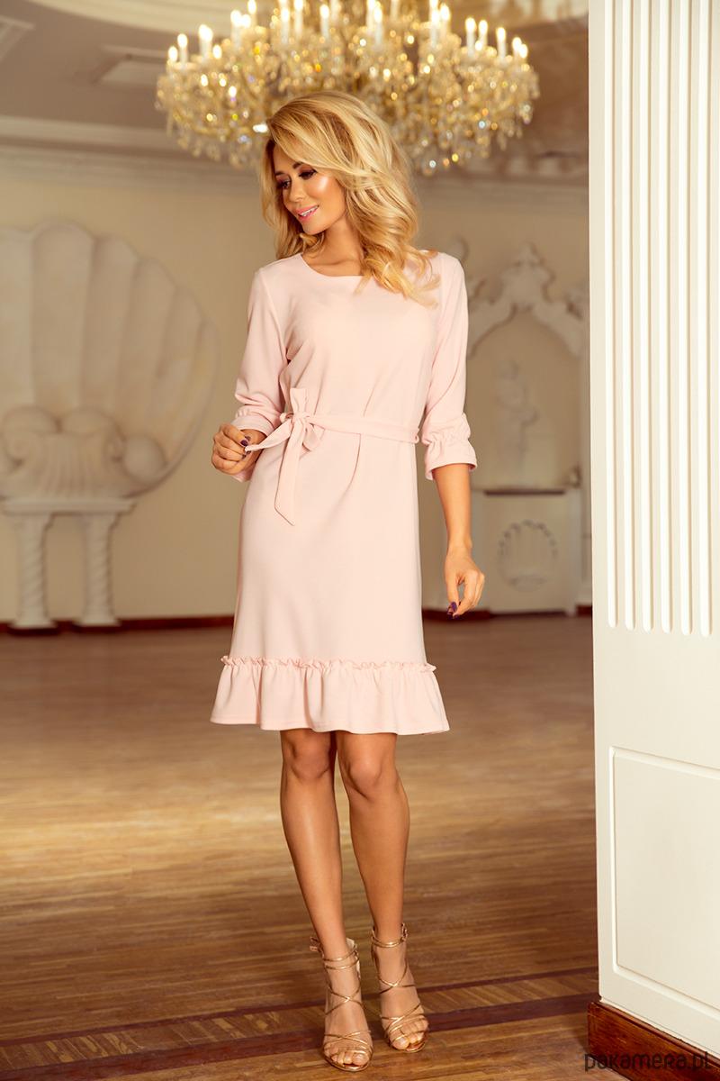 7b48887d9b 193-2 MAYA Sukienka z falbankami - pastel róż - sukienki - midi -  Pakamera.pl