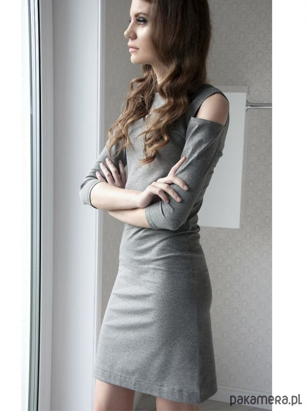 Sukienka ciemnoszara LL100006_RAL7039