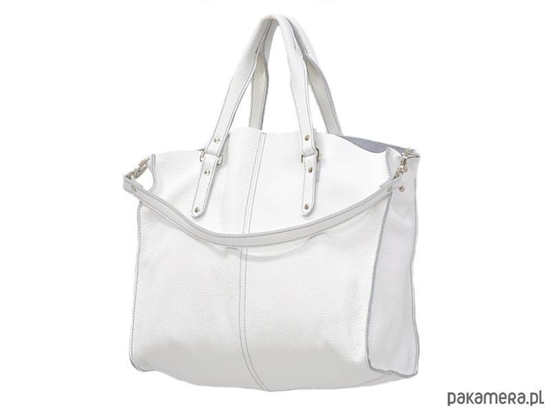 c08095d773b46 44-0025 Biała torebka skórzana ROOK TWO - torebki do ręki - Pakamera.pl