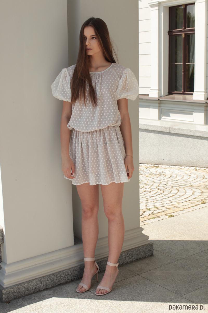 Sukienka bawełniana biała Stars