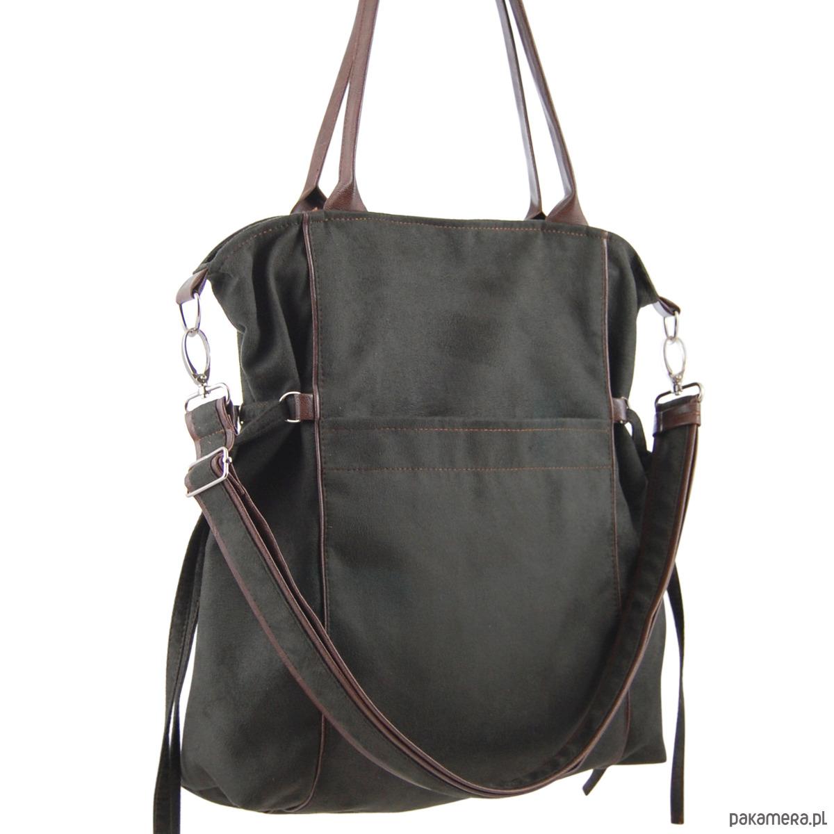 e9ce8e720c077 AMBER - duża torba - shopper - khaki i brąz - torby na ramię - damskie -  Pakamera.pl