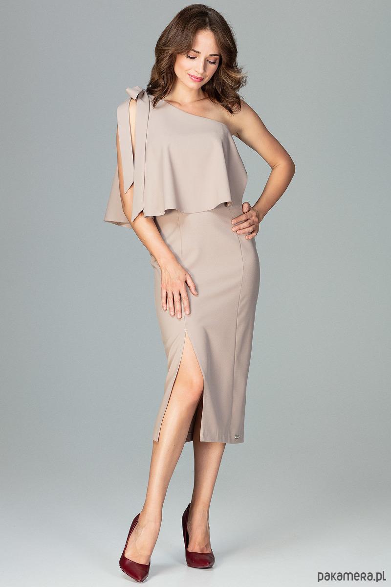 Sukienka K489 Beż