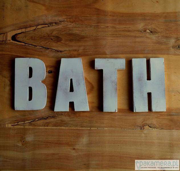Napis Bath Do łazienki Kolor Biały Przecierany Pakamerapl
