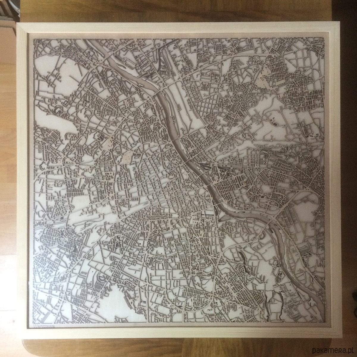 Citywood Drewniana Mapa Warszawa 60x60cm Plakaty Ilustracje