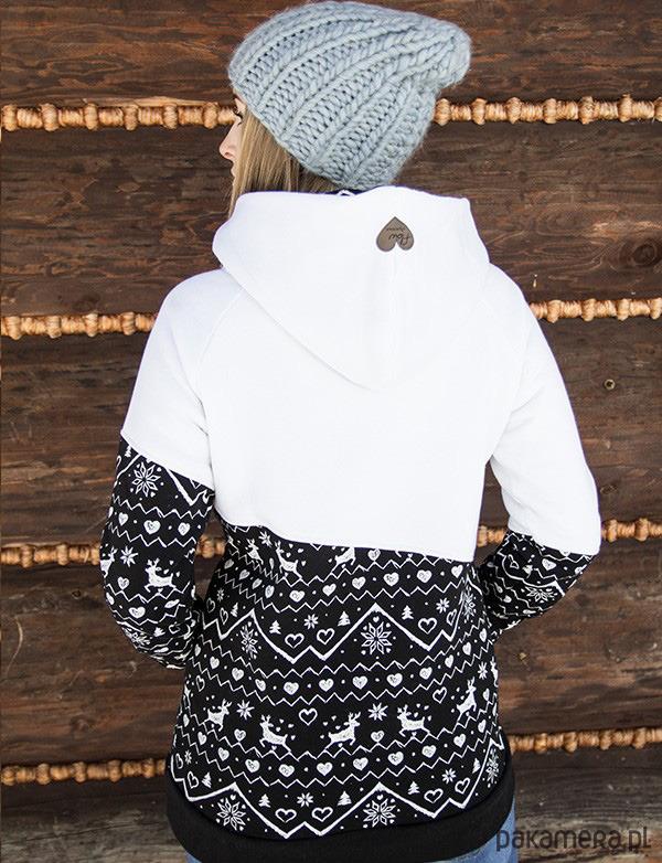 Bluza damska RENIFEROWE PÓŁ czarno-biała