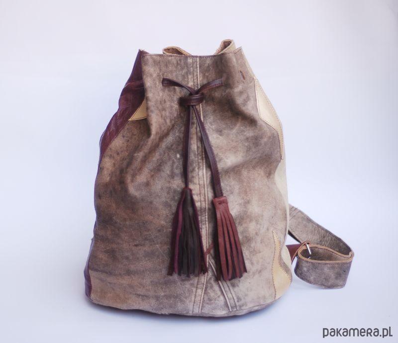8ec6d8a19533d URCHYNN skórzany plecak w złote trójkąty - torebki różne - damskie ...
