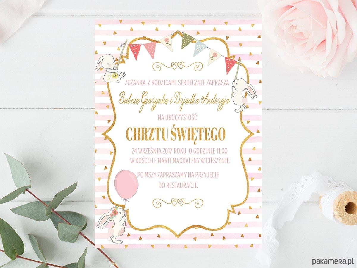 Zaproszenie Chrzest Urodziny Róż Złoto Królik Chrzest Kartki