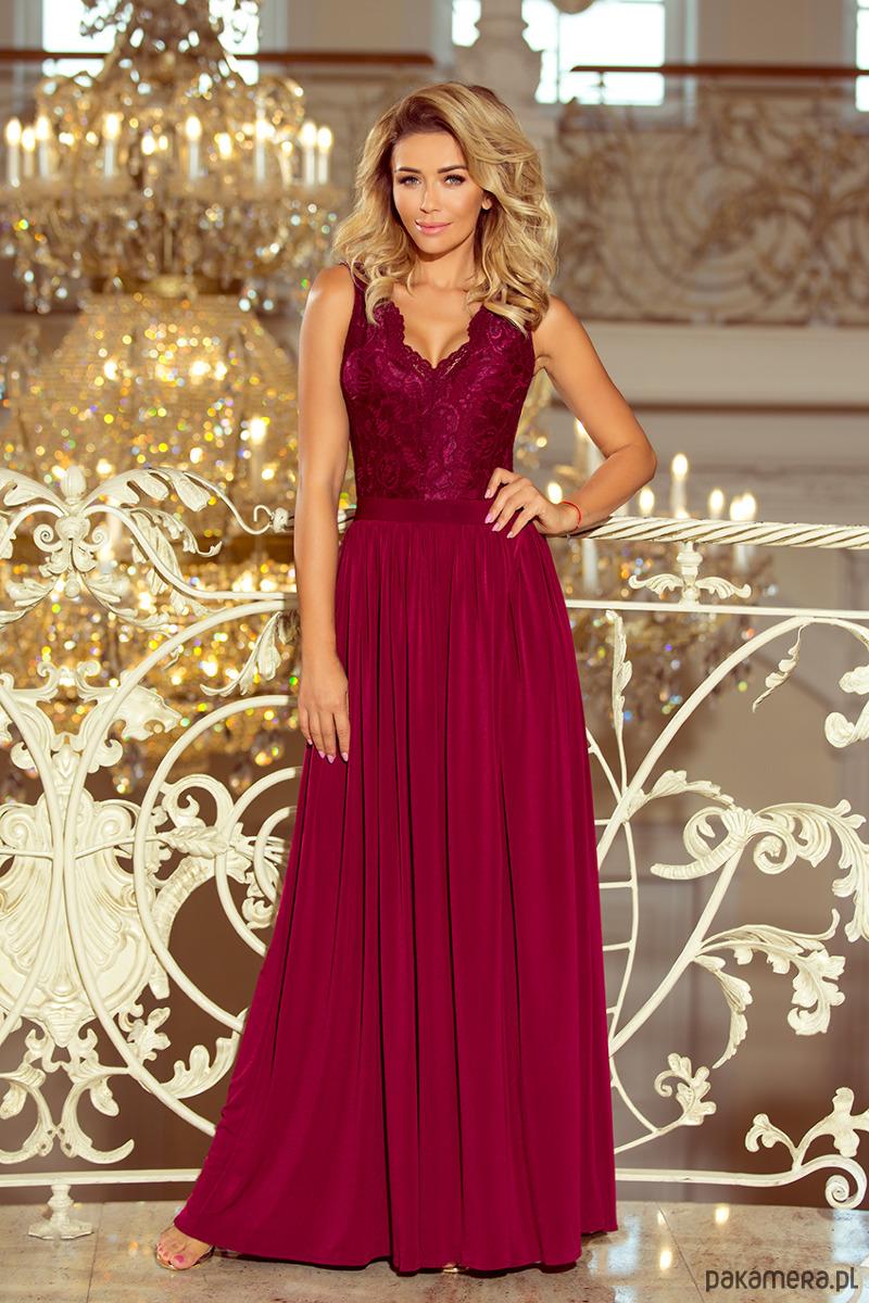 4cf6699c 211-2 LEA długa suknia bez rękawków - bordowa - Pakamera.pl