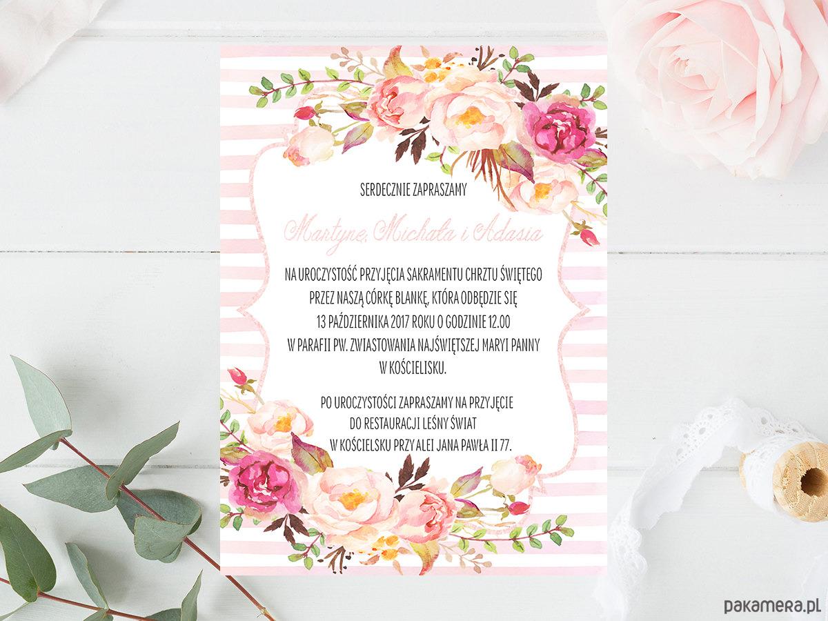 Zaproszenie Chrzest Urodziny Boho Kwiaty Chrzest Kartki
