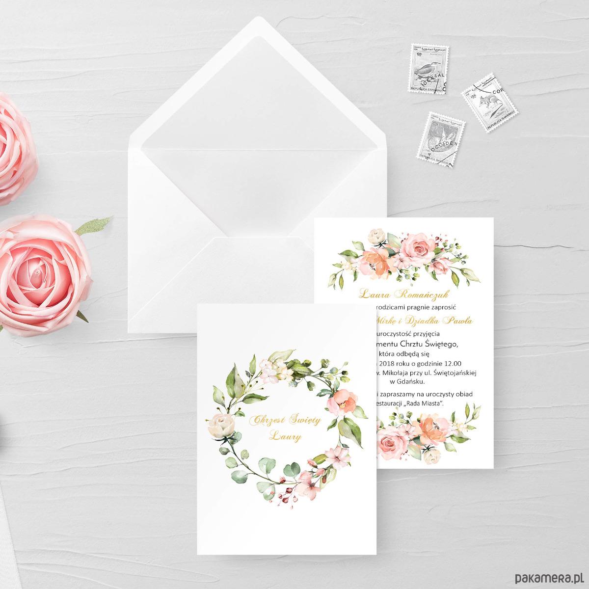 Zaproszenie Chrzest Roczek Słoneczne Róże Chrzest Kartki