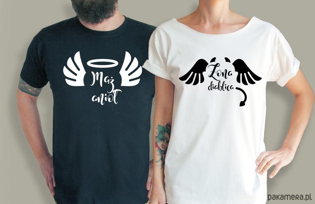 S-XXL Żona Diablica Mąż Anioł koszulki dla par