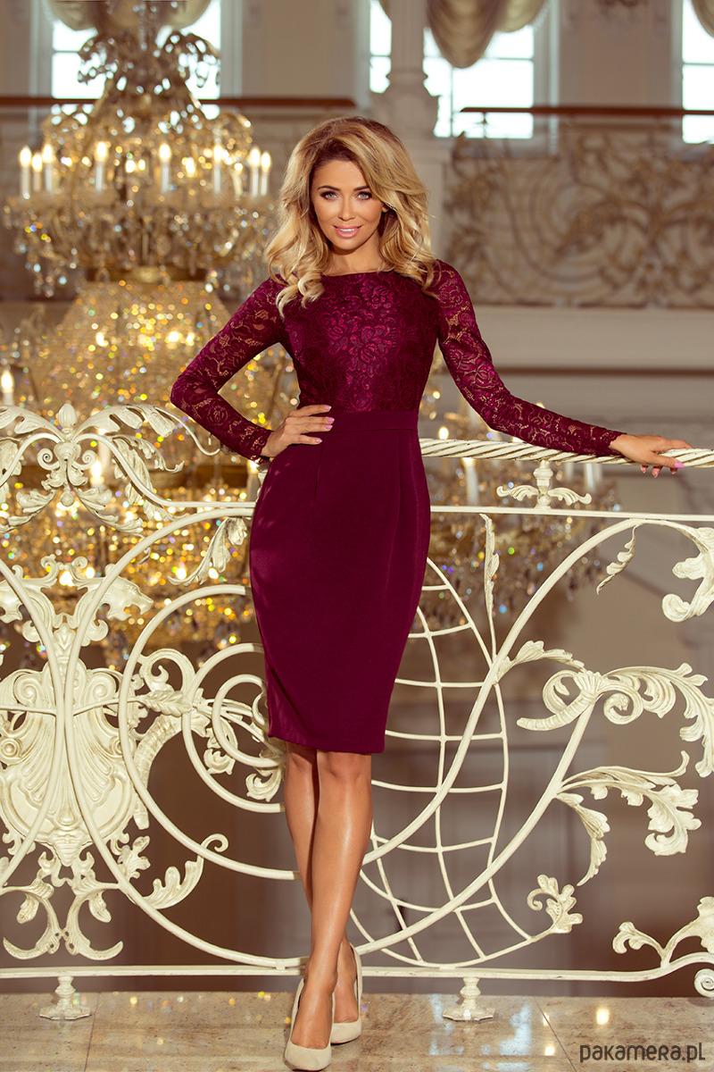 c0206d19f8 216-3 EMMA elegancka ołówkowa sukienka bordowa - sukienki - midi ...