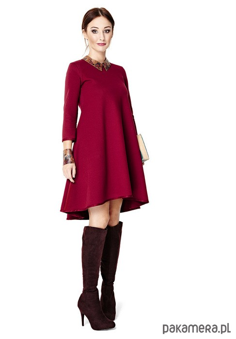 Sukienka ciążowa klosz dłuższy tył bordo