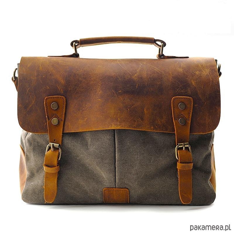ac52429073343 torby na ramię - unisex-Bawełniano-skórzana teczka listonoszka PRINCETON