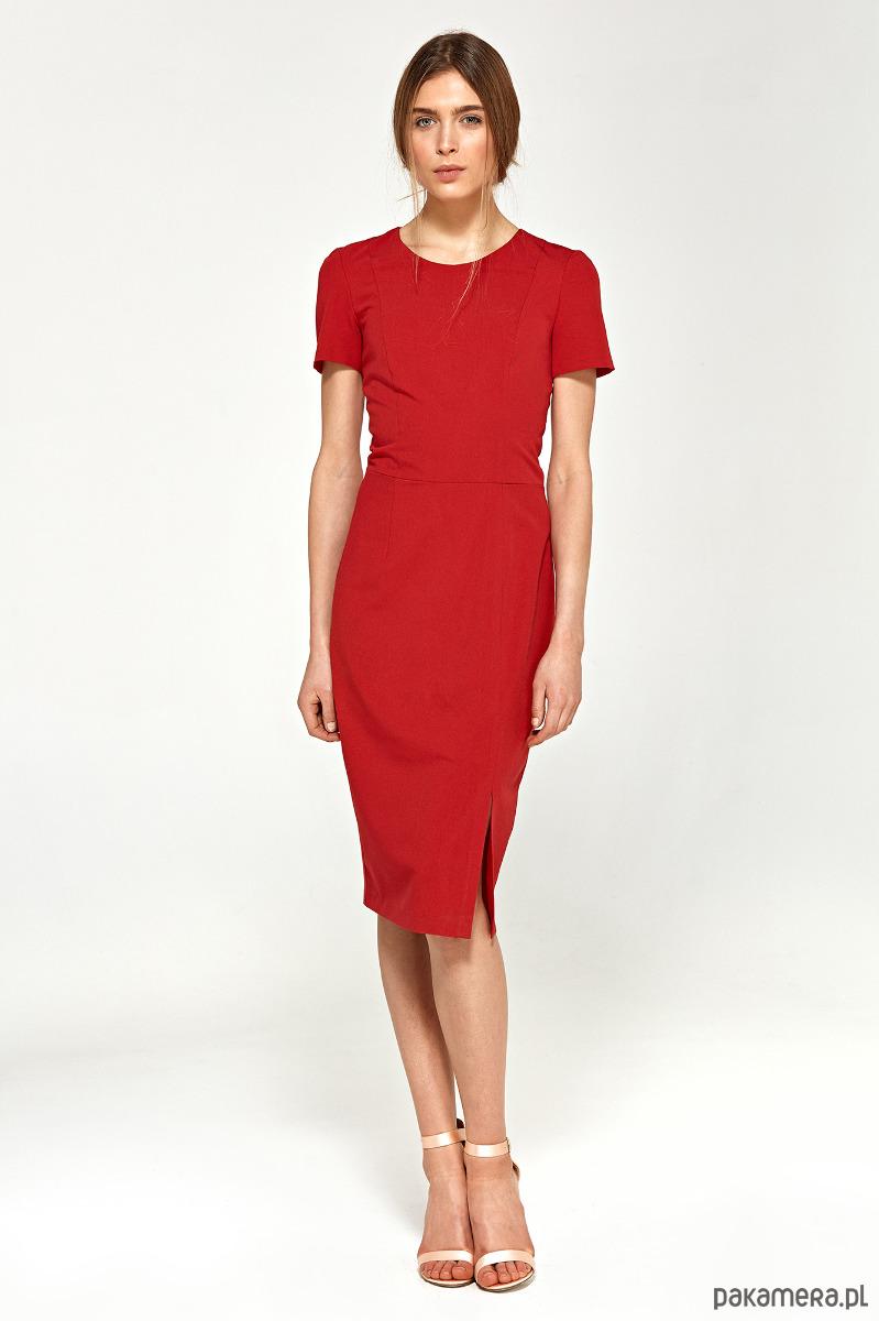 Sukienka z krótkim rękawem s97 - czerwony