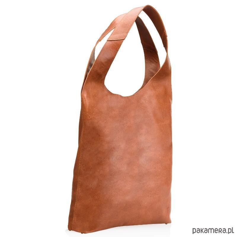 301e02641a810 torby na ramię - damskie-Brązowa miękka skórzana damska torba typu worek