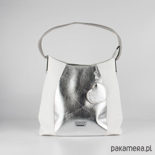 a77470a1dda56 Stylowa biało srebrna torebka na ramię CHIARA - plecaki - Pakamera.pl