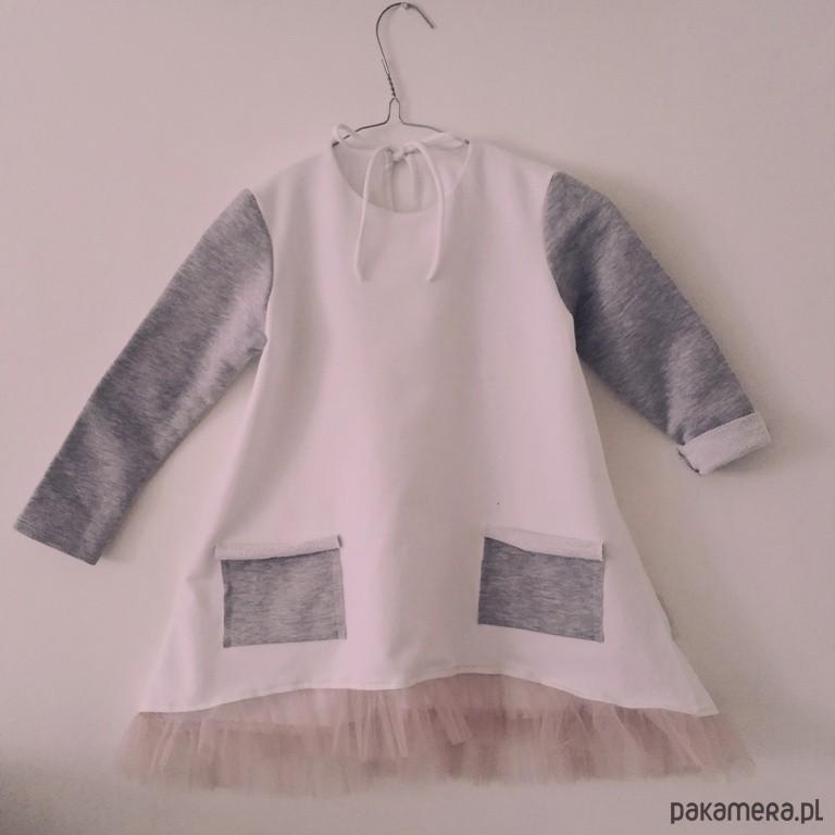 2d1c411aa7 Sukienka Dresowa z Tiulem pudrowy róż - dziewczynka - sukienki ...