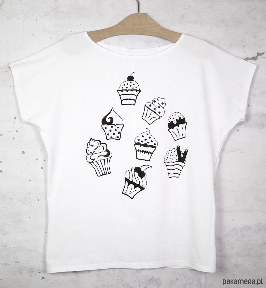 MUFFINKI koszulka bawełniana biała z nadrukiem