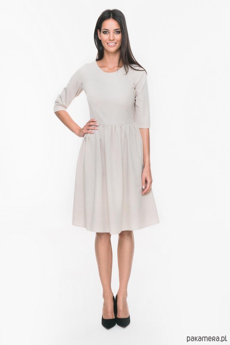 Sukienka wizytowa rozkloszowana M019 Beż