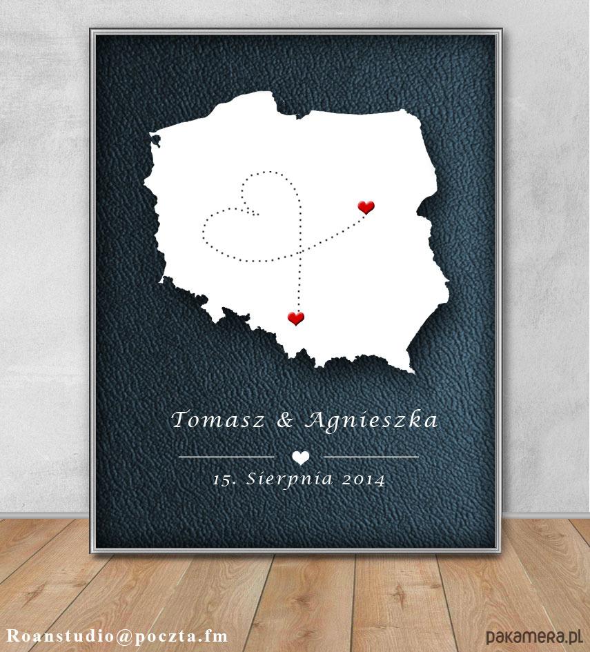 Plakat W Ramie A4 ślub Mapa ślub Zaproszenia Kartki Pakamerapl