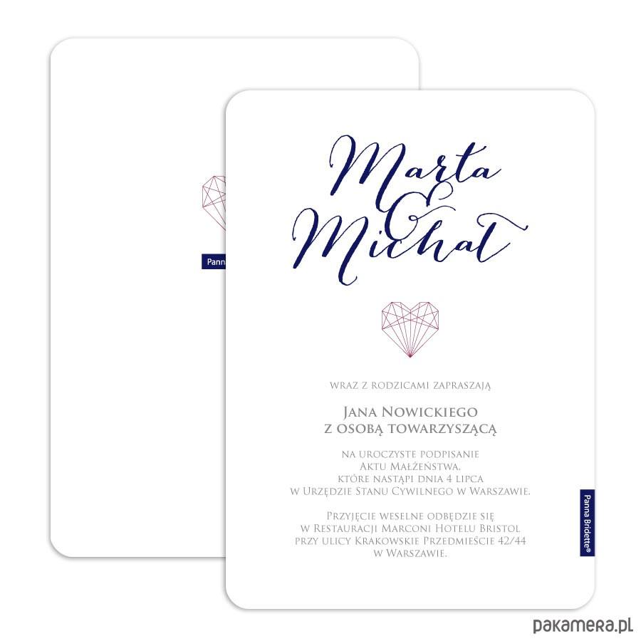 W Mega Zaproszenie Ślubne Kolekcja DIAMOND HEART - Ślub - zaproszenia TY41