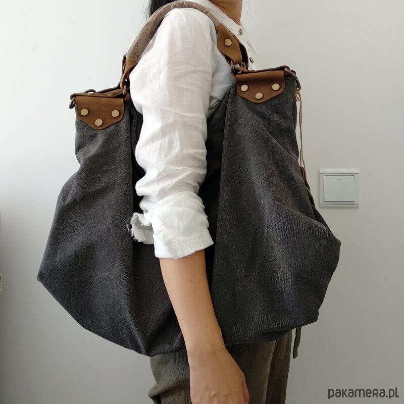 11d5c655818d8 CLARENCE™ Torba na ramię płótno - skóra - torby na ramię - damskie -  Pakamera.pl