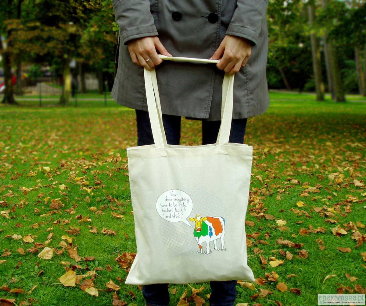 1848f253d637b Eko torba na ramię TALKING COW - kolor naturalny - torby na zakupy - damskie  - Pakamera.pl