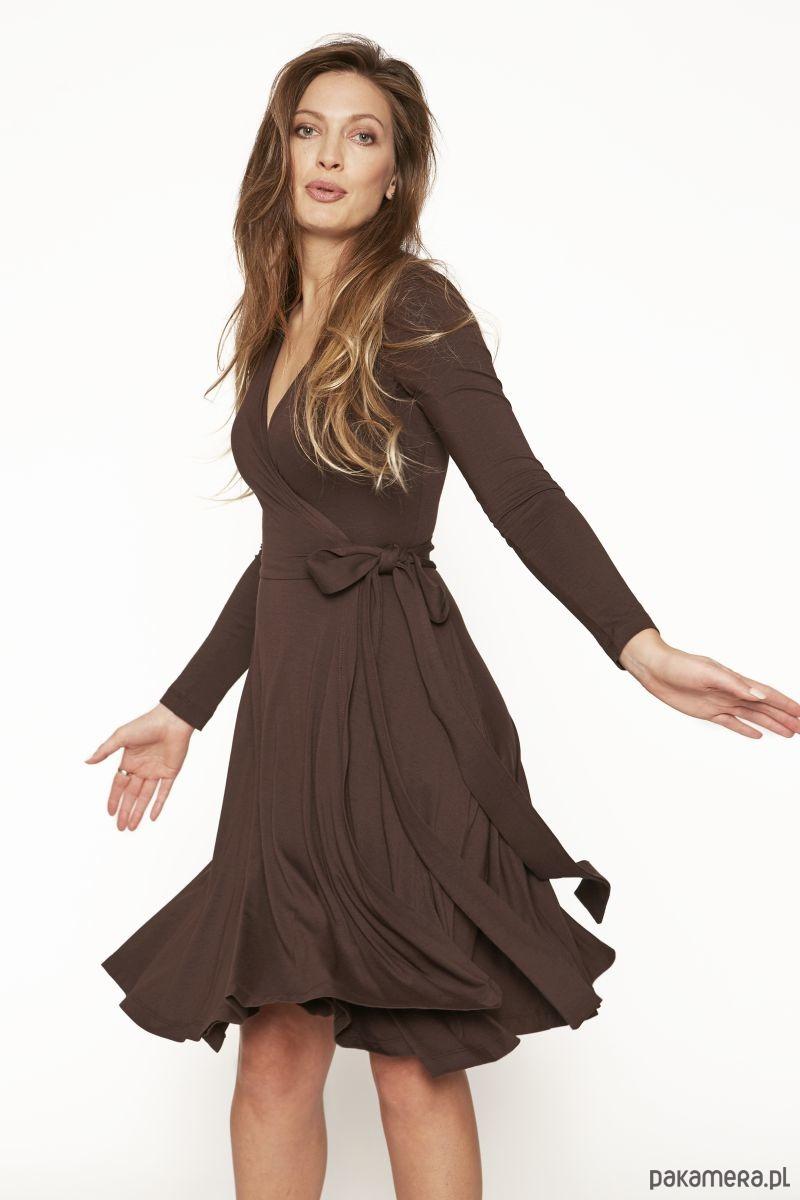 sukienka KLASYKA GATUNKU rękaw hot chocolate