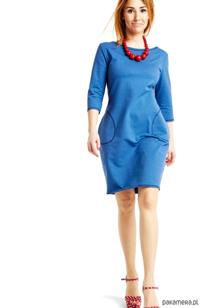 Sukienka taliowana z kieszeniami chaber