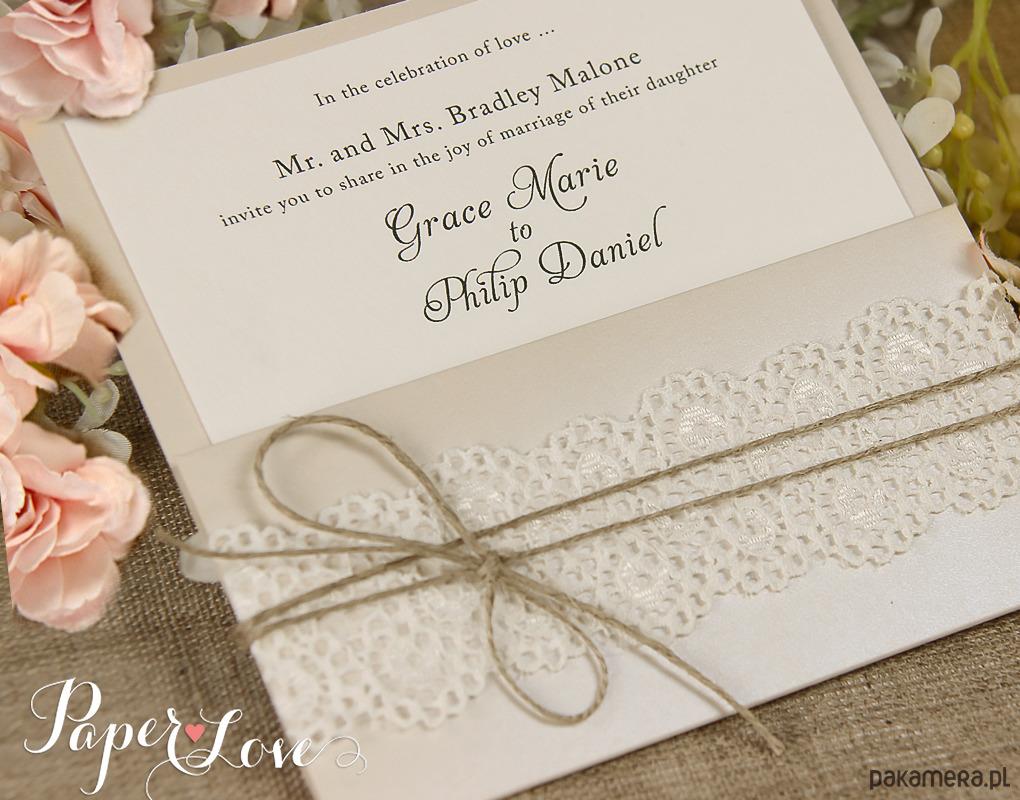 Zaproszenia ślubne Rustykalne Eko ślub Zaproszenia Kartki