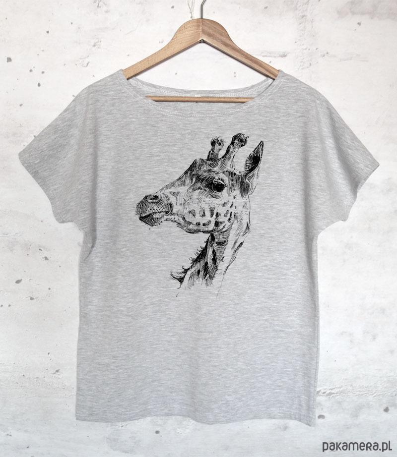 ŻYRAFA koszulka bawełniana szara z nadrukiem